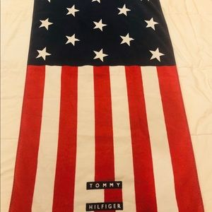 Vintage 90s Tommy Hilfiger Beach Towel Flag Red